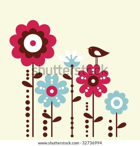 cute bird and flower design - stock vector