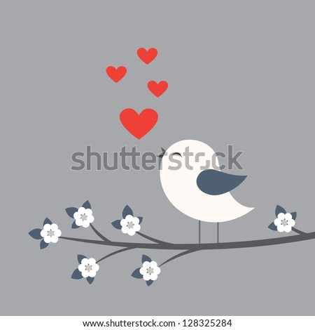 Cute bird. Card for Valentine day - stock vector