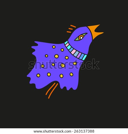 Cute bird. Drawing in ethnic style. - stock vector