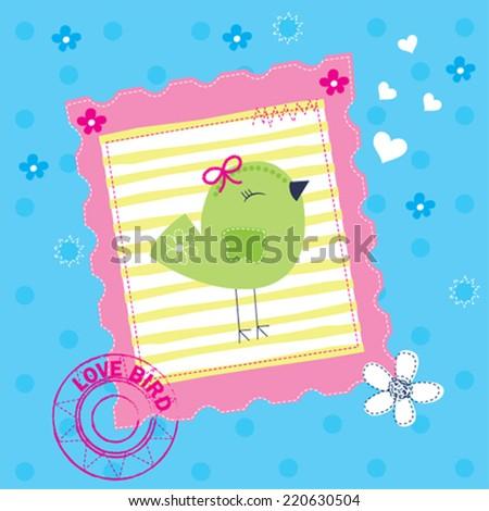 cute bird invitation card vector illustration - stock vector
