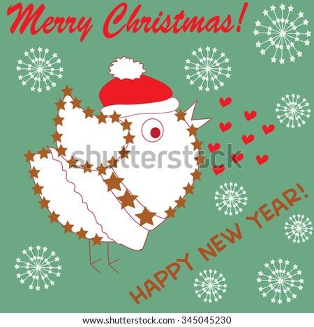 cute bird ln a santa claus cap with hearts and snowflakes vector illustration - stock vector