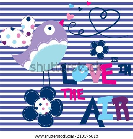 cute bird love card striped background vector illustration - stock vector