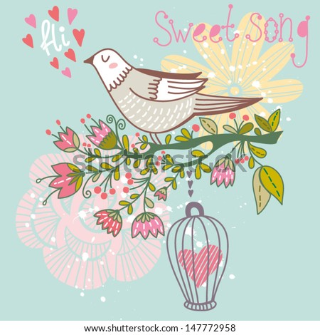 "Cute bird on blossom branch. Gentle illustration ""Sweet song"". Bright illustration, can be used as creating card, invitation card for wedding,birthday and other holiday and cute summer background."