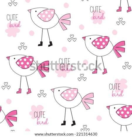 cute bird pattern vector illustration - stock vector