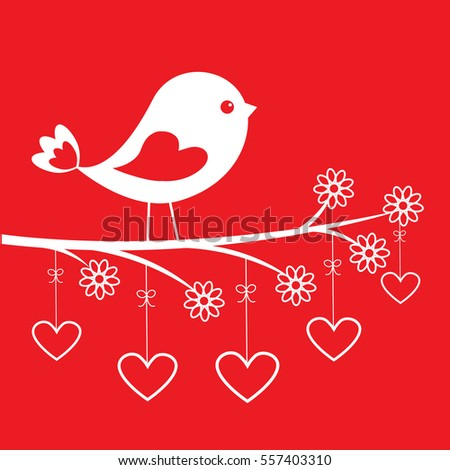 Cute bird - stylish card for Valentine's day. Vector illustration