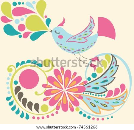 cute bird. vector illustration - stock vector