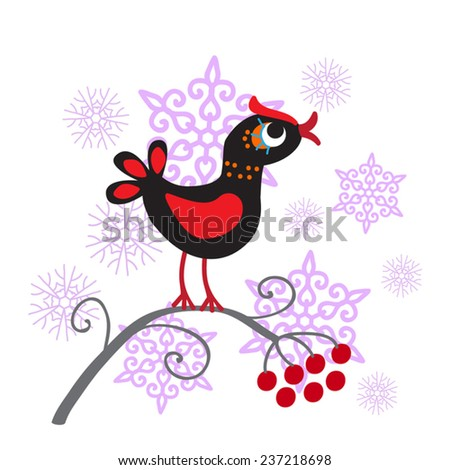 Cute bird vector illustration. Black forest bird sitting in a branch and pink snow flakes on background. Childish style. Isolated on white. As page corner decoration, clip art,design element. - stock vector