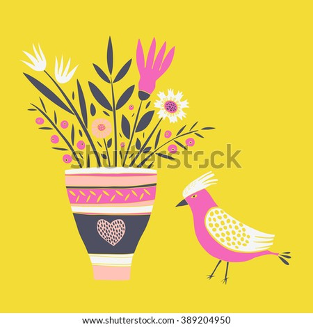 Cute Bird with Bouquet of Flowers