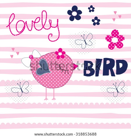 cute bird with butterfly on striped background vector illustration - stock vector