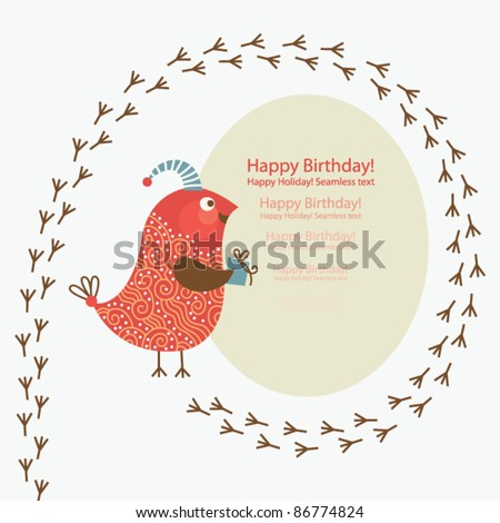 Cute bird with little present, Greeting card with place for your text