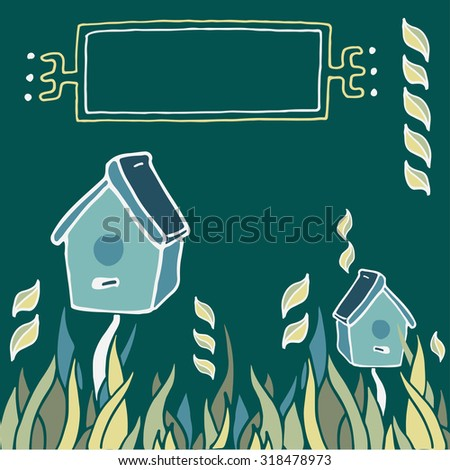 Cute birdhouses in the grass - decorative frame for your text. Template frame design for card. Can be used for packaging, invitations.
