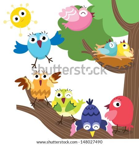 Cute Birds Family - stock vector