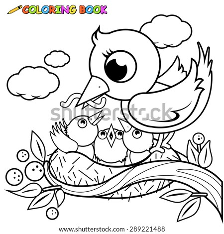 Cute Bird On Tree Branch Singing Stock Illustration 597076046 - coloring pages birds nest