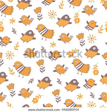 Cute birds in vector. Seamless pattern for children's wallpapers. - stock vector