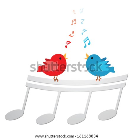 Cute birds singing. Vector illustration of three little birds singing happily with musical notes. - stock vector