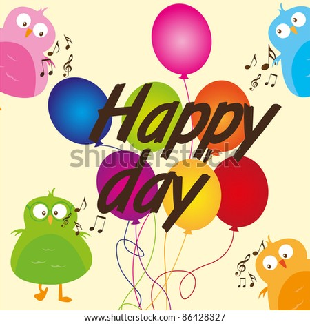 cute birds with balloons happy day  over beige background. vector