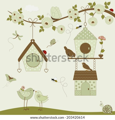 Cute birds with birdhouse and butterflies, bees, ladybug, snail - stock vector