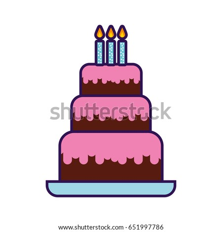 Cute Birthday Cake Cartoon Stock Vector 651997786 Shutterstock