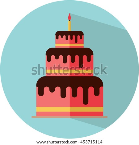 Cute birthday cake flat vector icon. Cake with candle. Colorful.