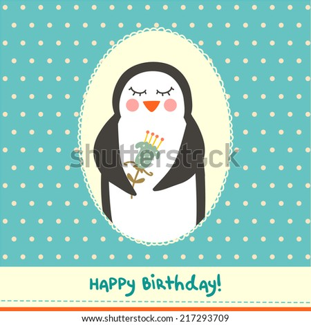 Cute Birthday Card Design Funny Little Stock Vector 217293709