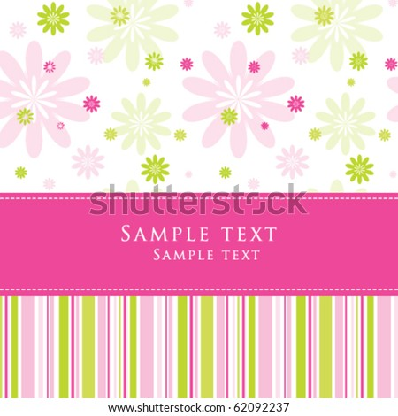 Cute Birthday Greeting card with stylish colorful stripe background Simple unique design for greeting card, birthday invitation, scrapbook project, wedding, mother's day, Easter greetings - stock vector