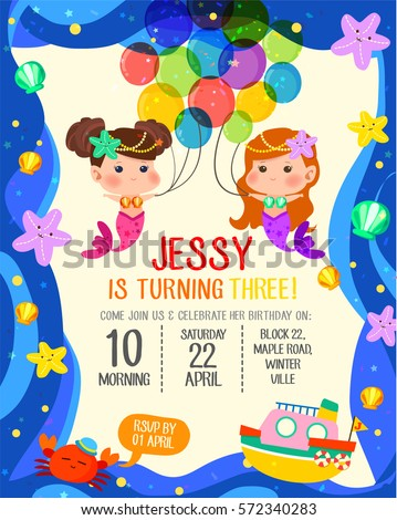 Cute Birthday Invitation Card Two Beautiful Stock Vector 572340283