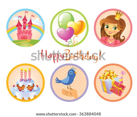 Cute birthday stickers - stock vector
