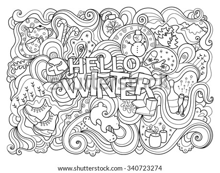 Cute black and white doodle card. Winter line illustration with many seasonal details: snowman, bear, skiing, champagne, candles, snowboard, forest, skates and others. Words are easily removable. - stock vector