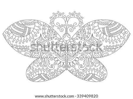 Cute black and white floral butterfly. Monochrome doodle element.