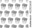 Cute black and white seamless pattern with hand drawn ink french fries. Lovely vector background. - stock vector