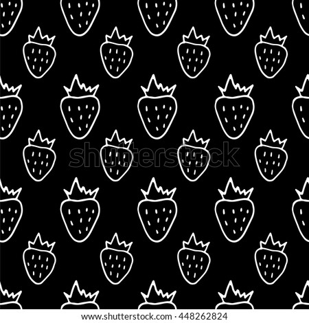 Cute black and white seamless pattern with hand drawn strawberries. Sweet vector summer background. - stock vector