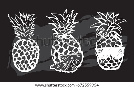 Cute black and white set with hand drawn pineapples. Isolated, vector
