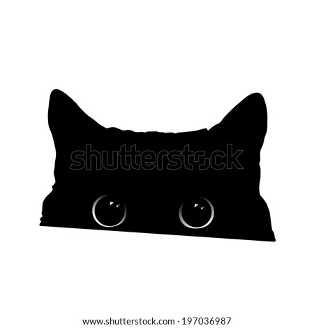 cute black cat face with big eyes peeking silhouette vector illustration - Black Cat Silhouette Halloween