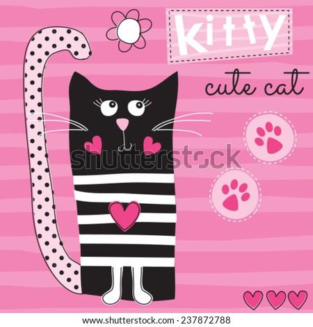 cute black cat kitty vector illustration - stock vector
