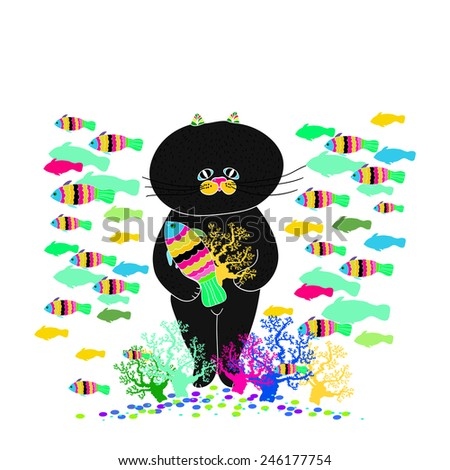 Cute black cat with lots of colorful fish on white background.