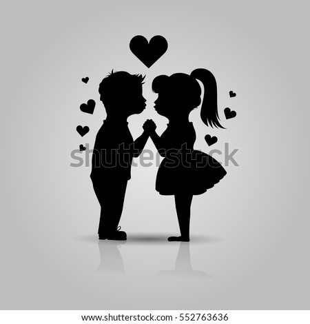 Cute Black Icon Of Kissing Couple Children Boy And Girl Stand Holding Hands Before