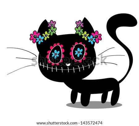 cute black kitten decorated with flowers - stock vector