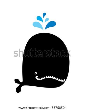 cute black monster - stock vector