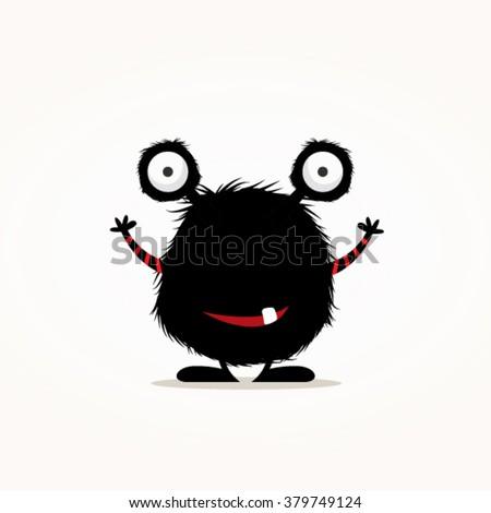 Cute black monster vector illustration - stock vector