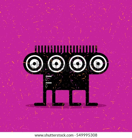 Cute black monster with emotions on grunge dark pink background. cartoon illustration.