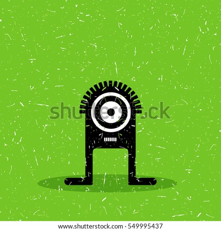 Cute black monster with emotions on grunge green background. cartoon illustration.