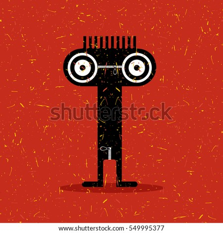 Cute black monster with emotions on grunge red background. cartoon illustration.