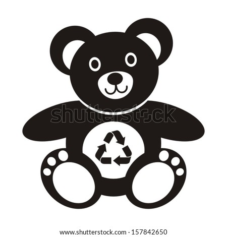 Cute black teddy bear icon with recycling symbol on a white background - stock vector