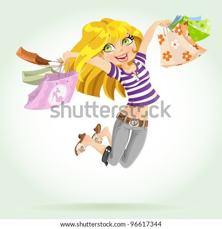 Cute blond girl shopaholic with shopping bags isolated on white background - stock vector