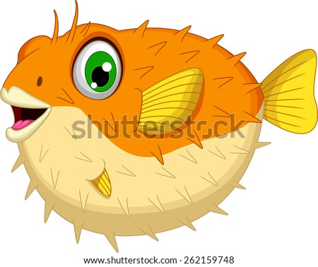 cute Blow fish cartoon - stock vector