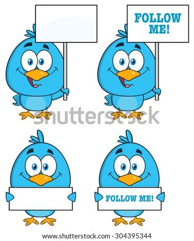 Cute Blue Bird Cartoon Character 6. Vector Collection Set - stock vector