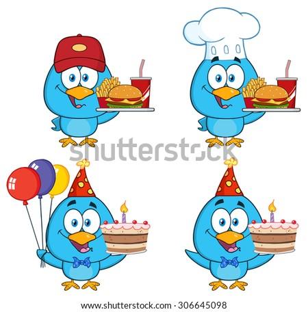 Cute Blue Bird Cartoon Character 9. Vector Collection Set - stock vector