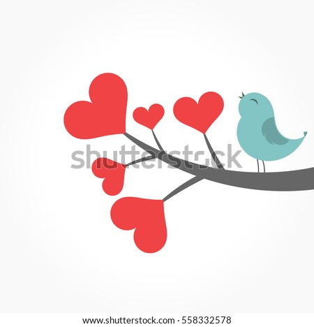 Cute blue bird singing on heart tree branch. Valentine's Day illustration