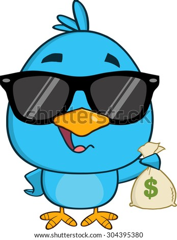Cute Blue Bird With Sunglasses Cartoon Character Holding A Bag Of Money. Vector Illustration Isolated On White - stock vector