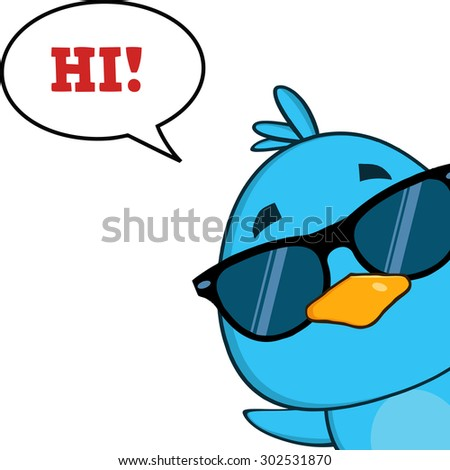 Cute Blue Bird With Sunglasses Cartoon Character Looking From A Corner With Speech Bubble And Text. Vector Illustration Isolated On White - stock vector